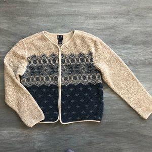 GAP tan blue zip up shearling long sleeve top L